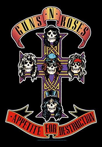 Heart Rock Licensed Bandiera Guns N' Roses - Cross, Tessuto, Multicolore, 110X75X0,1 cm