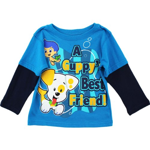 """Nickelodeon Bubble Guppies """"Guppies Bf"""" Turquoise Toddler L/S Layered T-Shirt (2T) front-1030663"""