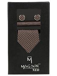 Magson Neo Men's Micro Fibre Jacquard Narrow Tie Combo, Zack - Brown