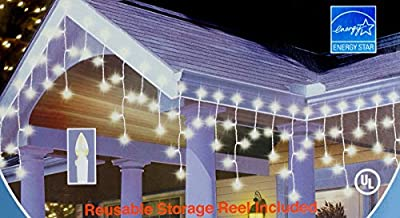 Home for the Holidays C3 Icicile LED 120 Warm White Bulbs Indoor Outdoor Lights with Free Storage Wheel