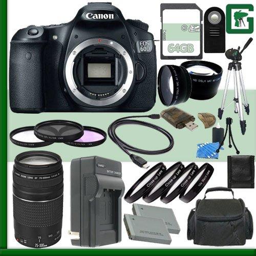 Canon Eos 60D Digital Slr Camera And Canon Ef 75-300Mm Iii Lens + 64Gb Green'S Camera Package 2