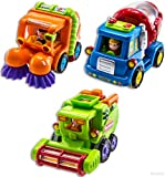 Wolvol Push and Go Friction Powered Car Toys(Set of 3) - Street Sweeper Truck, Cement Mixer Truck, Harvester Toy Truck