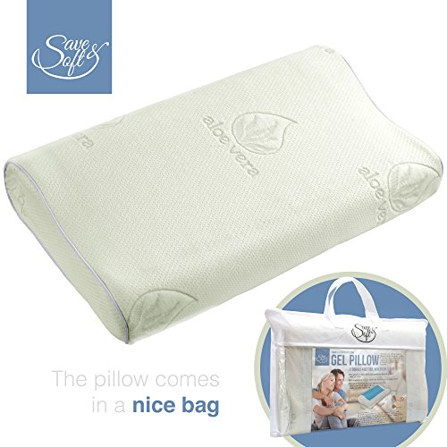 Memory Foam Pillow with Cooling Gel - Prevents Back and Neck Pain - Infused Aloe Vera Bamboo Washable Cover - for Back, Stomach and Side Sleepers Against Cervical Pain and Sore Neck - in Non-Woven Bag (Cooling Memory Foam Pillow King compare prices)