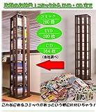 回転コミックラック 7段 ダークブラウン色 JO-0015