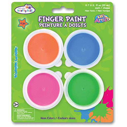 Multicraft Imports Finger Paint Tubs (4 Pack), 0.7 oz, Neon