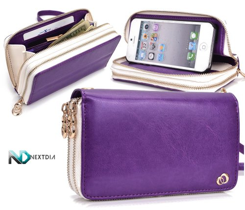Special Sale Apple iPhone 5 Runway Clutch/Purse by KroO [Purple] Smartphone Case/Wallet with Attachable Wristlet and a Complimentary NextDia ™ Velcro Cable Strap