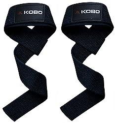 Kobo Power Gym Training Padded Straps / Weight Lifting Hand Bar Straps / Gloves Hooks Wraps Bar Straps