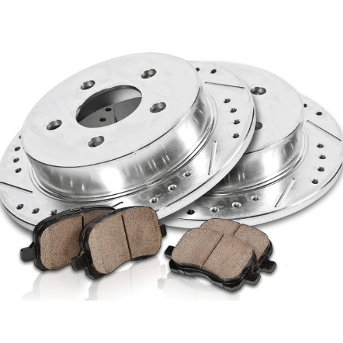 Callahan Rear Performance Grade Drilled/Slotted [2] Rotors + [4] Quiet Low Dust Ceramic Brake Pads Kit CK004455