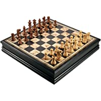 Adrienne Chess Inlaid Burl and Black Wood Board Game with High Quality Weighted Wooden Pieces and Tray - Extra Large 19 Inch Set