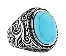 buy Moandy Jewelry Natural Opal Green Turquoise Rings Stainless Steel Vintage Nobel Palace Rings For Woman Men Europe Middle Ages Style Size 9