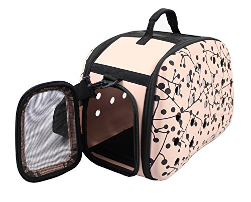 Narrow Shelled Perforated Lightweight Collapsible Military Grade Transportable Designer Pet Carrier, Pink, Black, One Size