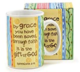 By GRACE You Have Been Saved – Ceramic COFFEE MUG 16 oz Gift Boxed – EPHESIANS 2:8 – Bible Verse FAITH Scripture