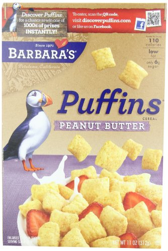 Barbara's Bakery Peanut Butter Puffins Cereal, 11-Ounce Boxes (Pack of 4)