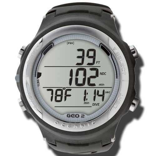 Oceanic GEO 2.0 Scuba Diving Wrist Computer with FREE Online Training (White Ring/Black Body & Band)