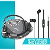 Portable CD Player Headphone & (Earphone NEW) Included - Skip Protection for CD, CD-R, CD-RW Black/Charcoal