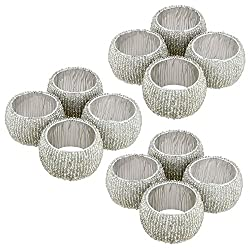 Prisha India Craft Beaded Napkin Rings Set of 12 Silver Decorations Christmas Ornaments, Perfect for Dinners, Parties, Weddings - Artisan Crafted in India - GIFT ITEM