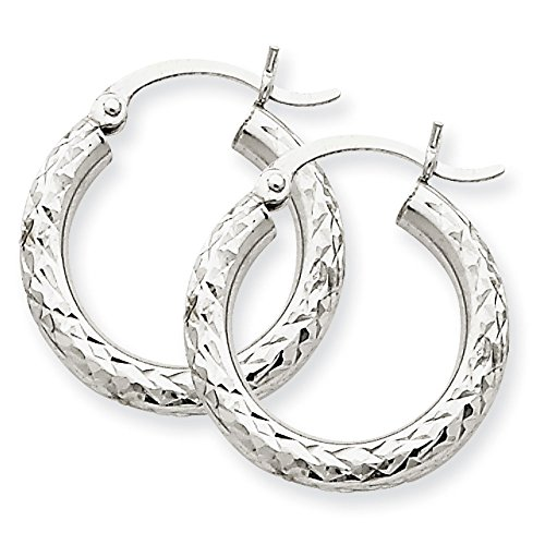 Round Earrings In 14Kt White Gold - Notched Back Pretty