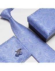 Necktie Blue striped neck tie set neckties cufflinks hanky Men's coupon codes 2015