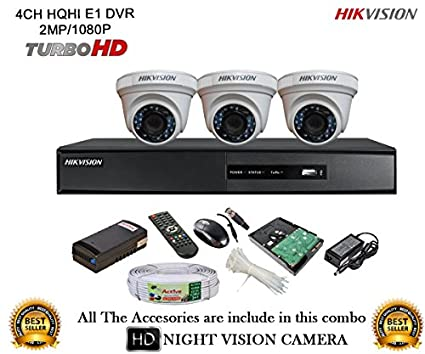 Hikvision DS-7204HQHI-E1 4Ch Dvr, 3(DS2CE56DOT-IR) Dome Camera (With Mouse, Remote, 500GB HDD, Bnc&Dc Connectors,Power Supply,Cable)
