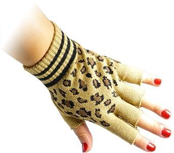 JTC Belt Unisex Half Finger Stretchy Fingerless Gloves One Size Fits Most Cheetah Beige