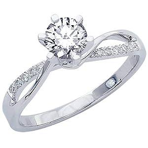 0.45 Carat Elegant Twisting Split Shank Diamond Engagement Ring 14K Black Gold with a 0.37 Carat J-K VS2-SI1 Round Brilliant Cut/Shape Center