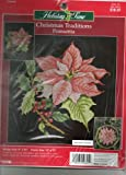 "Arts & Craft: CROSS STITCH -- HOLIDAY TIME CHRISTMAS POINSETTIA, 9"" X 9 & 3/4"" (Frame Size: 12"" x 12""), Free Gift Inside...by Leisure Arts"
