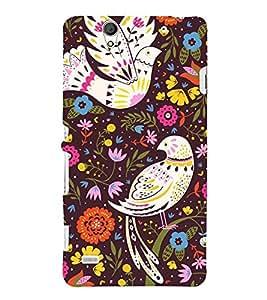 ethnic birds in colourful flowers background 3D Hard Polycarbonate Designer Back Case Cover for Sony Xperia C4 Dual E5333 E5343 E5363 :: Sony Xperia C4 E5303 E5306 E5353
