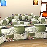 The Decor Hub 100% Cotton Floral Diwan Set (Set of 8 Pieces)- Green, Bedsheet - 223.5 cm x 142.2 cm, Cushion Covers - 40.6 cm x 40.6 cm, Bolster Covers - 40.6 cm x 81.3 cm