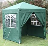 Airwave 2.0x2.0mtr GREEN Pop Up Gazebo, FULLY WATERPROOF with Four Side Panels and Carrybag
