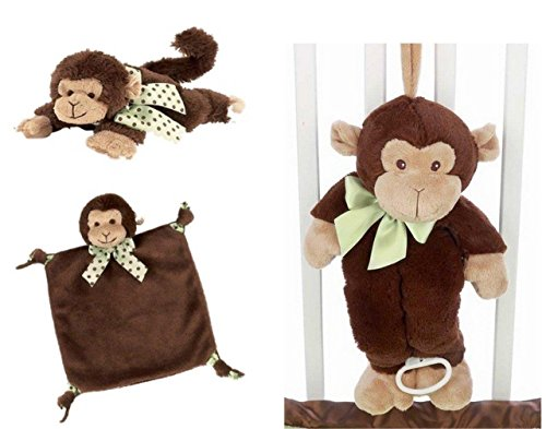 Giggles Monkey Musical Crib Pull Toy, Wee Blanket, and Plush Rattle Set - 1