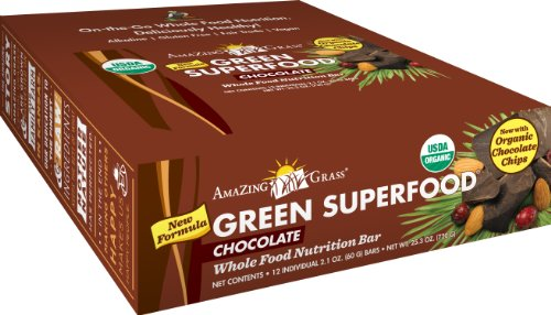Amazing Grass Organic Chocolate Green SuperFood Whole Food Energy Bar, 2.1 Ounce Bars, 12- Count Box