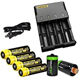 Nitecore Sysmax Intellicharge i4, Four Bays universal battery charger, Four Nitecore 18650 NL183 2300mAh rechargeable batteries with 2 X EdisonBright AA to D type battery spacer/converters