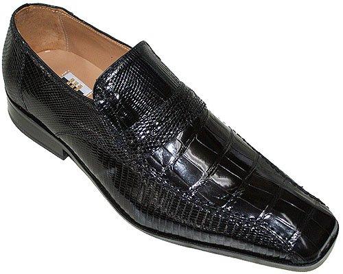 7cb7c39b65 David Eden Men s Stylish Genuine Alligator lizard Skin Slip on Shoes Stone  in Black 10