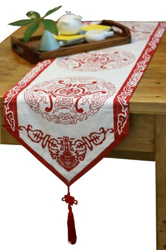 "75"" By 13""Red Chinese Folk Art Table Runner Traditional Cotton Table-Cloth"