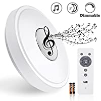 LE® 24W Dimmable φ385MM LED Music Ceiling Lights with Bluetooth Speaker, Color Temperature Adjustable , 1800lm, IR Remote Control, 180W Incandescent/50W Fluorescent Equivalent, Round Flush Mount Light, Ceiling Light Fixture from Lighting EVER