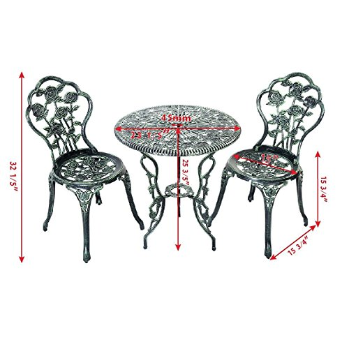 Giantex Patio Furniture Cast Aluminum Rose Design Bistro Set Antique Green (Green) 1