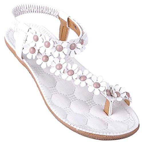 Donna Sexy Girls Estate Pantofole Boemia Fiore Tallone Scarpe Flip Flop Sandali Piatti Infradito ( Bianco EU 39 )