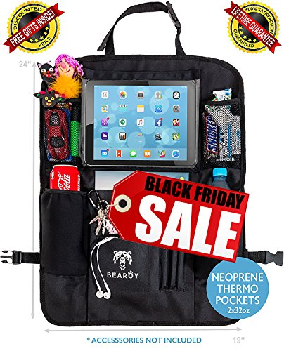 Luxury Car Back Seat Organizer with Thermo Pockets, DVD Player & Tablet Holder - Large Touch Screen Pocket up to 11