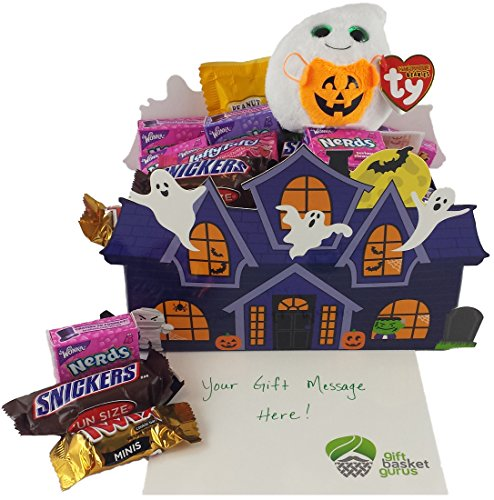 Halloween Haunted House: Candy-filled Gift Basket with TY Beanie Boo (Ghost) (Halloween Candy Baskets)