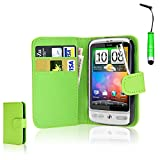CellDeal Flip Wallet Leather Case Cover For HTC Desire C Free Screen Protector + Green