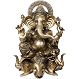 Lord Ganesha Seated On Three Elephant Head - Brass Statue
