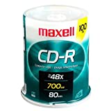 o Maxell Corp. Of America o - CD-R, 80 Min/700MB, 48X, Branded, 100/PK