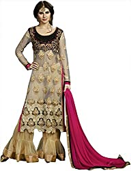 Shine Kreations Women's Georgette & Net Unstitched Salwar Suit (S-14, Beige with Pink & Black)