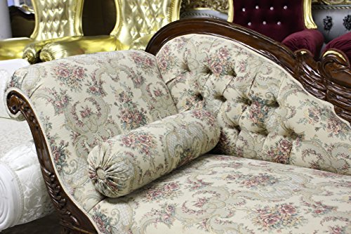 Italian Style Tapestry Chaise Lounge Carved Wood 3