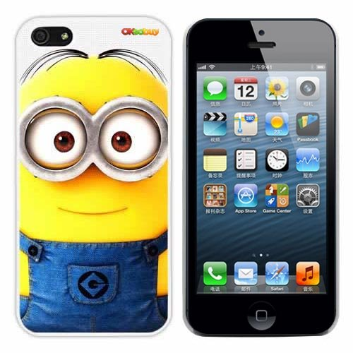 511dPiXKgaL Despicable Me Minion Dave Fashion Design Hard Case Cover Skin Protector for Iphone 5 At&t Sprint Verizon Retail Packing(white Pc+pearlescent Aluminum) Ok 022