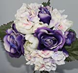 Silk Roses and Hydrangea Bridal Nosegay Bouquet - Purple and Cream