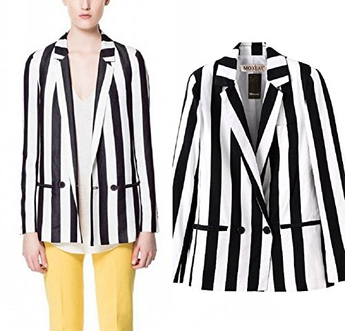 Women's Striped Sleeved Leisure Blazer - S, M or L - Ideal for Beetlejuice dress-up