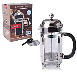 French Press Coffee Maker and Tea Infuser 34oz/8 Cups by Taners, Bonus Double Filter Screen with Plastic Scoop and Elegant Gift Box made by Lang Ying