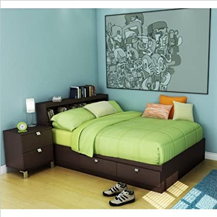 Kids Full Storage Bed 4 Piece Bedroom Set in Chocolate