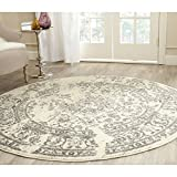 Safavieh Adirondack Collection ADR101B Ivory and Silver Round Area Rug, 4 feet in Diameter (4' Diameter)
